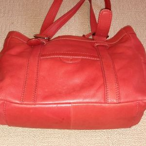 Fossil Red Leather Tote